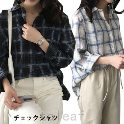 チェックシャツレディースボタンシャツカジュアルシャツゆるシャツトップス不規則裾スリット入り2カラー