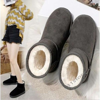 ムートンブーツレディースぺたんこショート丈スマートすっきり歩きやすいフェイクファーカジュアルあったかい冬靴