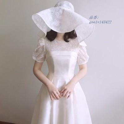2021春ウェディングドレス 白 パーティードレス ウエディングドレス エレ簡約 パーティー 花嫁ロングドレス セクシーレース 結婚式 挙式 二次会
