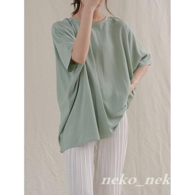 ドルマンスリーブ 半袖 レディース Tシャツ ロング ゆったり 薄手 無地 カットソー サマーTシャツ カジュアル クルーネック 女性 かわいい 韓国風 20代30代