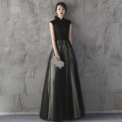 ブラック 黒 ロングドレス ミニドレス 2タイプ ノースリーブ 立ち襟 チャイナドレス パーティードレス 披露宴 二次会 イブニングドレス 3