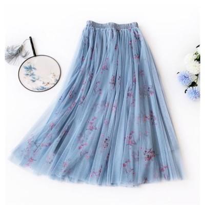 品質自信あり 早春 新スタイル プリーツ フェアリースカート ロングスカート Aライン 花柄スカート