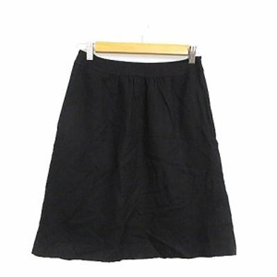 【中古】エフデ ef-de スカート 台形 ひざ丈 リボン 9 黒 ブラック /AAM26 レディース