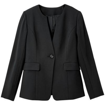 キーネックジャケット(吸汗速乾・UVカット・防しわ機能・洗濯機OK)/ブラック/3L