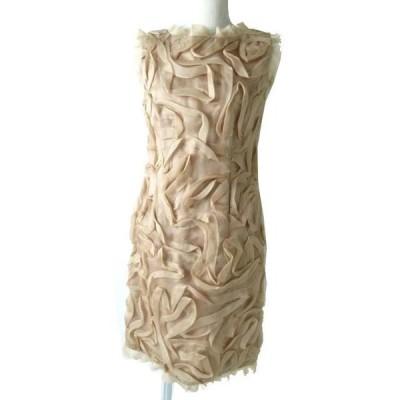 美品◎正規品 日本製 ミスアシダ 美シルエット シルク100% チュール素材 デザイン ノースリワンピース/ドレス ベージュ系 バックZIP付 9