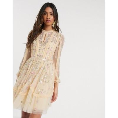 ニードルアンドスレッド レディース ワンピース トップス Needle & Thread mini dress with rose embroidery in lemon