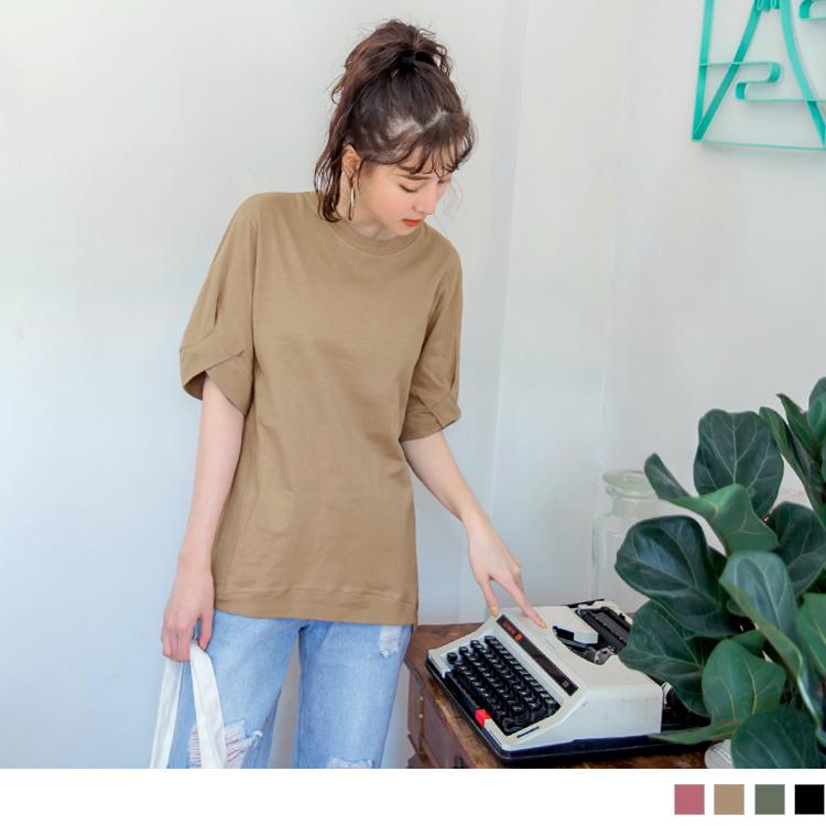 台灣製造.高含棉純色造型袖寬鬆上衣