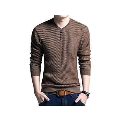 [meryueru(メリュエル)] フェイクボタン Vネック カットソー シンプル デザイン 長袖 すっきり シルエット ながそで お洒落 オシャレ