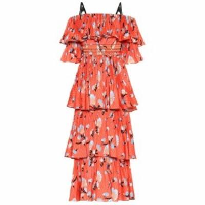 セルフ ポートレイト Self-Portrait レディース ワンピース ワンピース・ドレス Floral crepe de chine midi dress Red