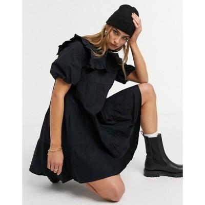 ウエアハウス レディース ワンピース トップス Warehouse ruffle bib mini dress in black