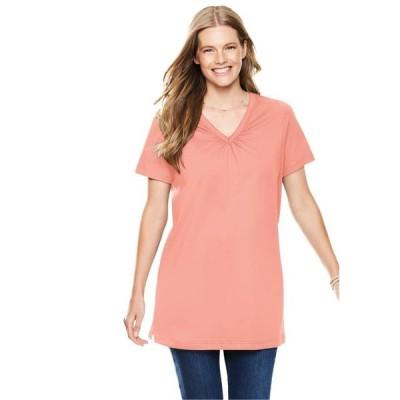 レディース 衣類 トップス Woman Within Women's Plus Size Perfect Shirred V-Neck Tunic ブラウス&シャツ