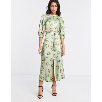 エイソス レディース ワンピース トップス ASOS DESIGN satin bias midi tea dress with braid detail and puff sleeves in grid floral print