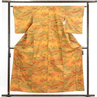 リサイクル着物 小紋 正絹大島紬地使用茶屋辻模様袷小紋着物