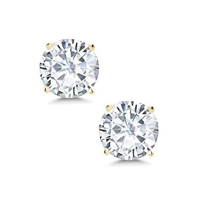 14K Yellow Gold Friction Back Stud Earrings Set Round 4 Prong Forever One N好評販売中