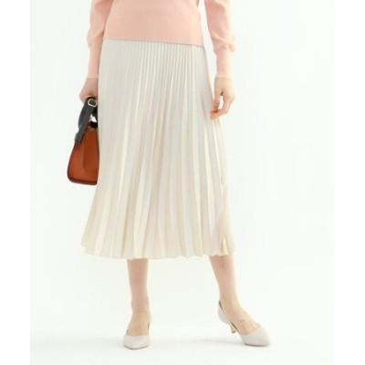 「L」【WEB限定カラー】ドレープサテン切り替え風プリーツスカート