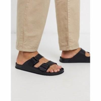 エイソス ASOS DESIGN メンズ サンダル シューズ・靴 Asos Design Sandals In Triple Black With Buckle ブラック