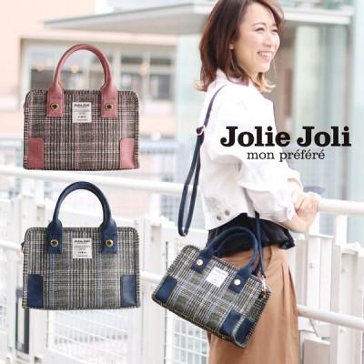 [Jolie Joli] ジョリージョリ バッグ 2WAY ツイード プリント ゴールド 金具 レディース ピンク/ネイビー(07000328r) 『ギフト』