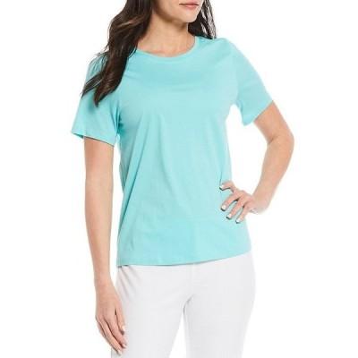 エイリーンフィッシャー レディース Tシャツ トップス Organic Pima Cotton Jersey Round Neck Short Sleeve Tee