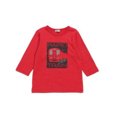 hakka kids (ハッカキッズ) [ジュニアサイズ・ボーイズ]電車プリント7分袖Tシャツ レッド 130