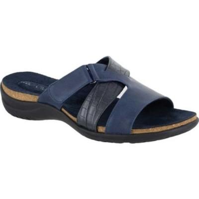 イージーストリート Easy Street レディース サンダル・ミュール スライドサンダル シューズ・靴 Frenzy Slide Sandal Navy Croco Synthetic