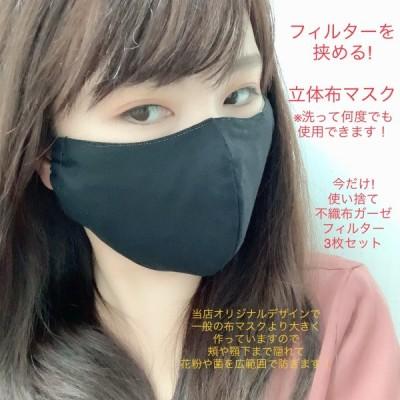 【 在庫あり 】 フィルター を はさめる 繰り返し 使える 日本製 マスク 立体 3D 布 マスク フィルターセット