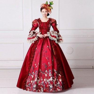 レッドドレス オペラ 声楽 中世貴族風豪華お姫様ドレス ウェディングドレス ステージ衣装 プリンセスライン 演劇 服ドレスd9071f0f0y5