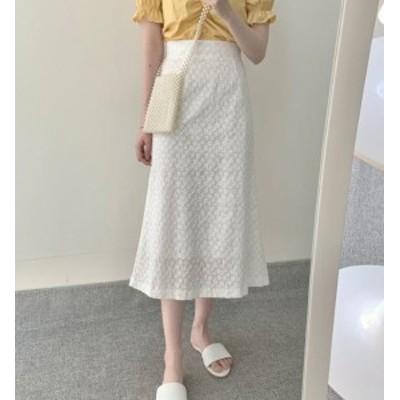 韓国 ファッション レディース スカート ロング ミモレ丈 レース ハイウエスト Aライン フレア オルチャン 大人可愛い きれいめ 上品 通