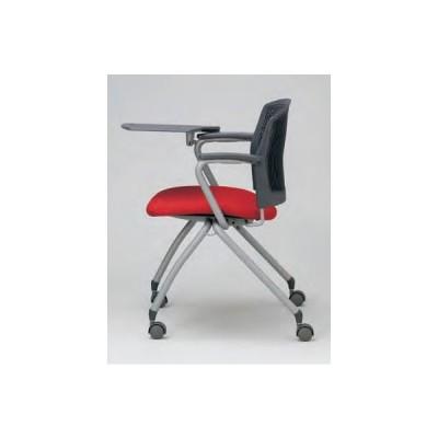 ミーティングチェア・スタッキングチェア/ メモ台付き・両肘・キャスタータイプ (布張りor抗菌性ビニールレザー張り) MC-383T