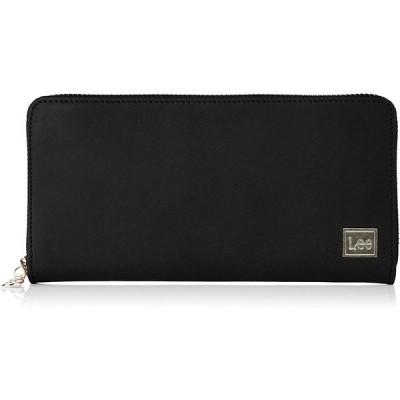 [リー] 財布 Leeロゴプレート 高級イタリアンオイルレザー ラウンドファスナー束入れ ブラック