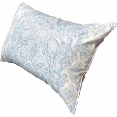 ポリエステル わた 枕 カバー付 約43×63cm ペイズリー ブルー