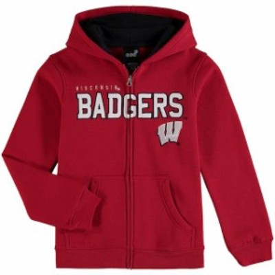 Genuine Stuff ジュニュイン スタッフ スポーツ用品  Wisconsin Badgers Youth Red Stated Full-Zip Hoodie