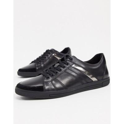 ケネスコール メンズ スニーカー シューズ Kenneth Cole initial sneaker in black box leather