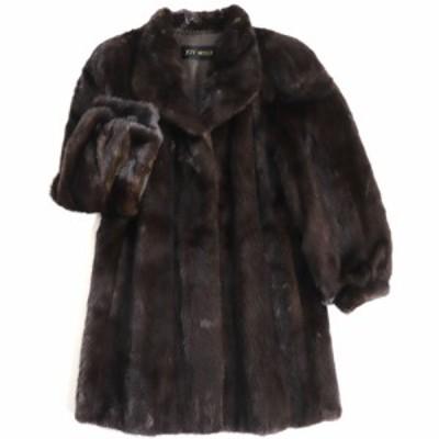 極美品▼JOY MILLE SAGA MINK サガミンク 本毛皮コート ダークブラウン 毛質艶やか・柔らか◎