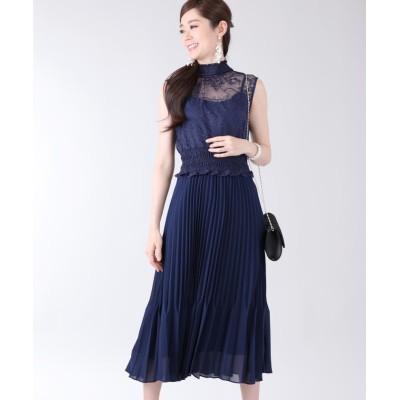 【ブルーイースト】 《結婚式 パーティー 二次会》レースシャーリングプリーツスカートドレス レディース ネイビー M(01) BLUEEAST