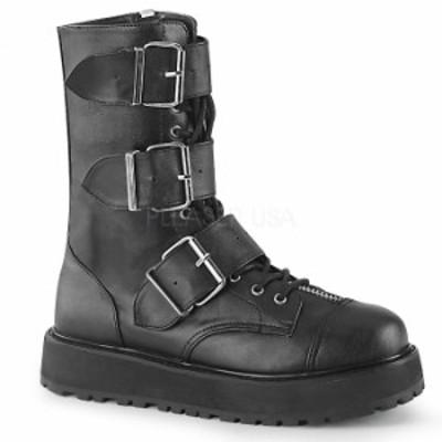 取寄 靴 DEMONIA デモニア ショートブーツ メンズ 黒 ブラック ビーガンレザー 大きいサイズあり 22.5 23 23.5 24 24.5 25 25.5 26 26.5