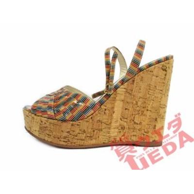 【名古屋】フェンディ サンダル ウェッジソール 37 約24.0cm アンクルストラップ ベージュ マルチカラー アパレル 女 靴