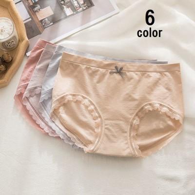 ショーツ スタンダードショーツ 単品 レディース インナー 下着 パンティ パンツ リボン 裾レース シンプル 無地 柄なし おしゃれ かわいい 可愛