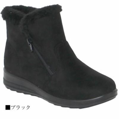冬ブーツ★ファー付きスエードシンプル軽量ショートブーツ 軽い フラット -- ワイン M
