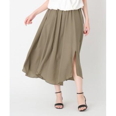 SOUP / 【大きいサイズあり・13号】セルロースナイロンダブルスリットスカート WOMEN スカート > スカート