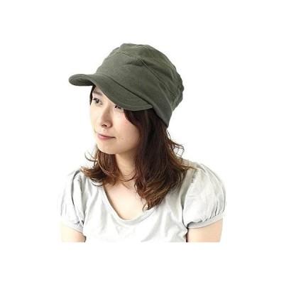 ワークキャップ メンズ 大きいサイズ 夏 スウェット 帽子 レディース (カーキ M)