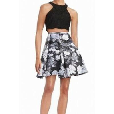 ファッション スカート Xscape NEW Black Gray Womens Size 10 Lace Pleated Floral Skirt Set