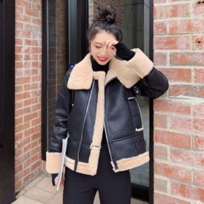 おしゃれなショートコート アウター ボア 防寒 カジュアル かっこいい ブラック