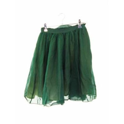 【中古】マカフィー MACPHEE トゥモローランド スカート フレア ミニ 無地 34 緑 グリーン /M2 レディース