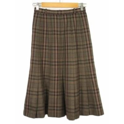 【中古】レリアン Leilian スカート フレア タック チェック ウール9 茶 ブラウン レディース