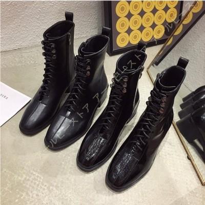 レディース レースアップブーツ 厚底 美脚 サイドジップ 編み上げブーツ 履きやすい ショートブーツ 黒 マーティンブーツ 厚底ブーツ 秋 ショート ブーツ