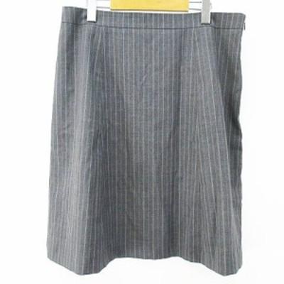 【中古】クミキョク 組曲 KUMIKYOKU ストライプ柄 膝丈 台形スカート 7 グレー 灰系 裏地 オンワード樫山 ストレッチ