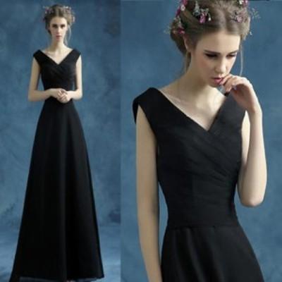 ブラック ロングドレス ショート丈  ブライズメイドドレス/フォーマルドレス パーティードレス イブニングドレス  二次会 披露宴 結婚