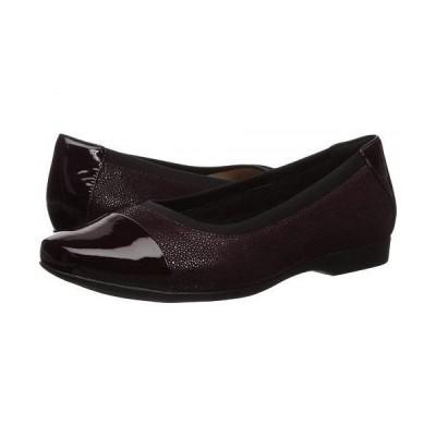 Clarks クラークス レディース 女性用 シューズ 靴 フラット Un Darcey Cap - Aubergine Nubuck/Leather Combination