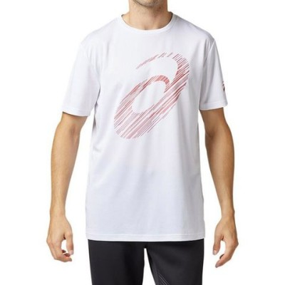 アシックス ビッグロゴショートスリーブトップ Tシャツ 半袖 2031A669 Bホワイト×Fレッド メンズ 2019SS トレーニング スポーツ ゆうパケット(メール便)対応