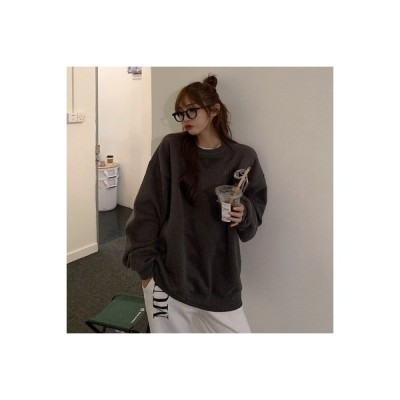【送料無料】韓国風 ルース レジャー レター刺繍 ミディ丈 丸襟 長袖 裏起毛 ヘッジセーター   364331_A64839-4109738
